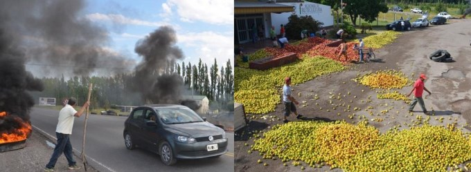 allen protesta de  fruticultores
