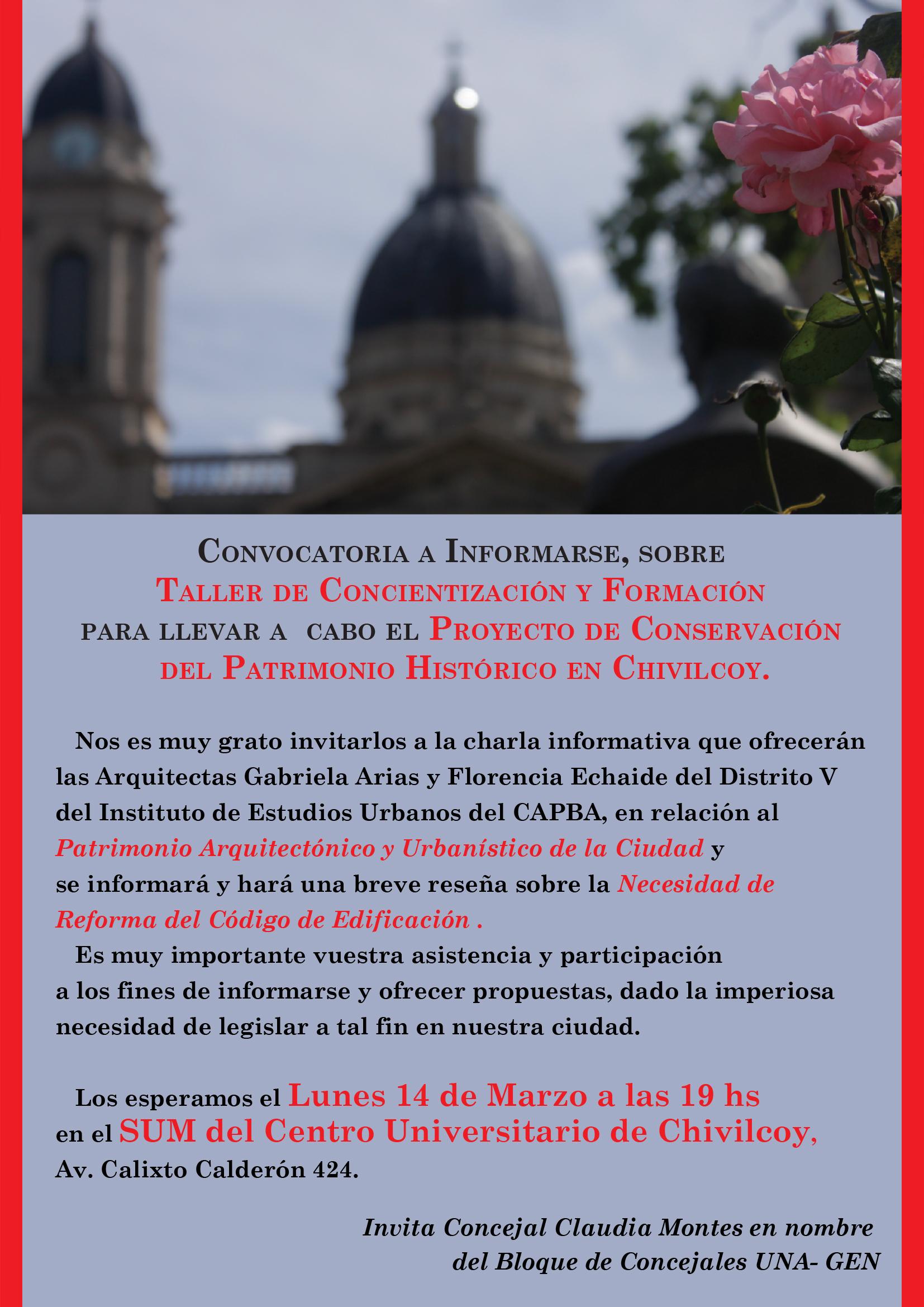 afiche curso patrimonio historico chivilcoy
